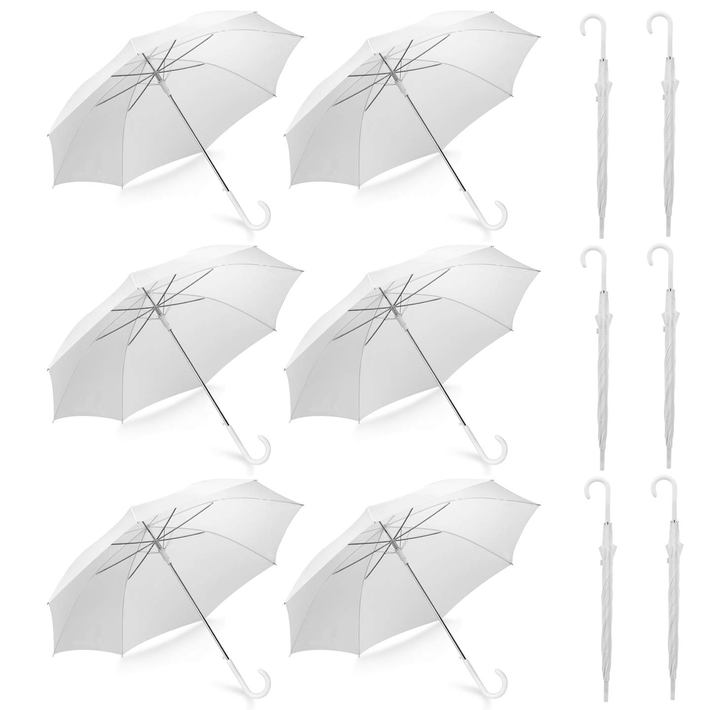 Pack of 12 Wedding Style Stick Umbrellas Large Canopy Windproof Auto Open J Hook Handle in Bulk (Pearl White) by Liberty Imports