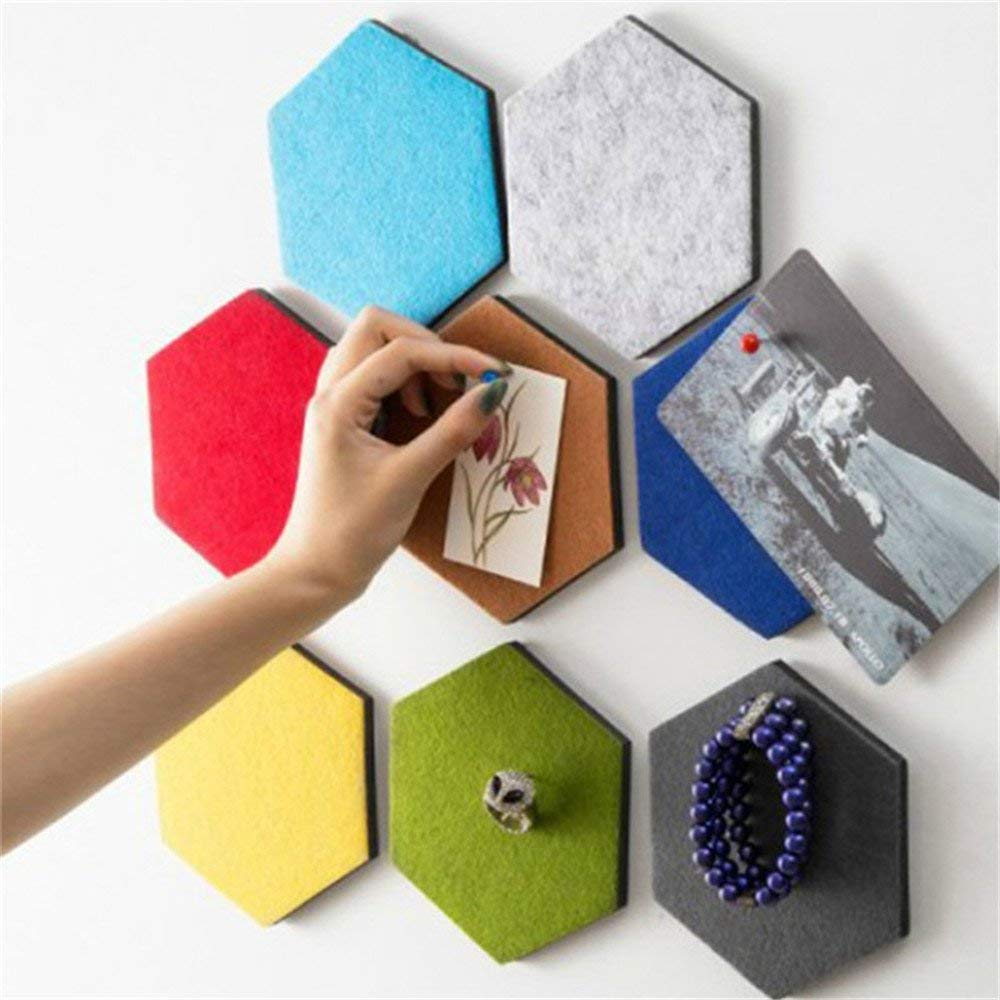 Pin Board 1 PCS 3D Felt Hexagon Board Tiles with Full Sticky Back Create Your Very Own Wall Bulletin Board Anywhere in Your Home to Create a Handy Place to Keep Notes Photos Goals Pictures Drawing