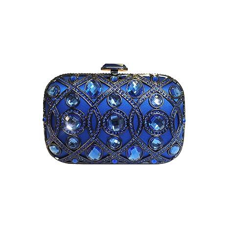 Diseño italiano lustrino joya embrague noche bolsa de cóctel de Anna Cecere mujeres - Azul