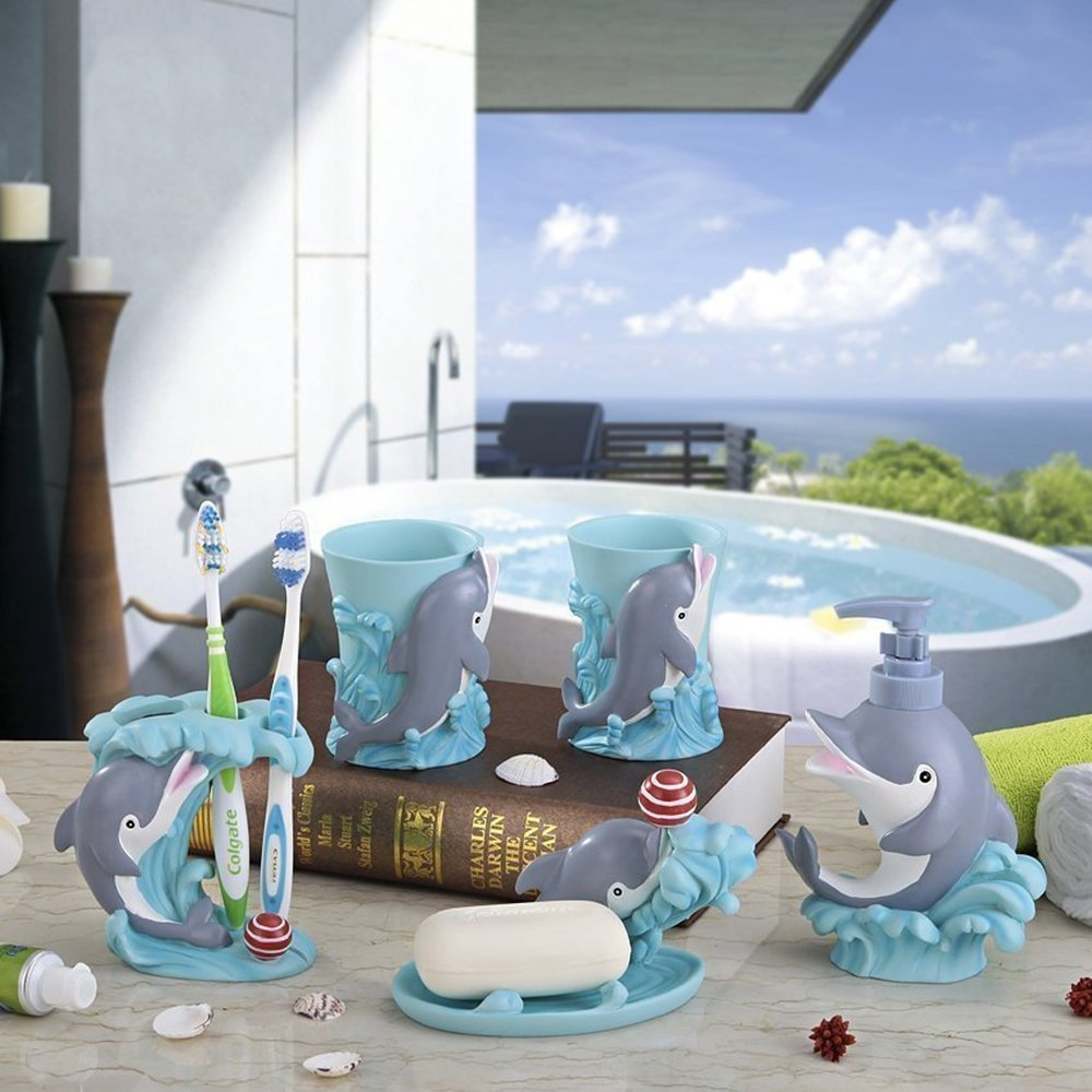 Cartoon Dolphins 5 Pieces Bathroom Accessory Set, Creative Soap Dish Liquid Soap Dispenser Toothbrush Holder Tumbler