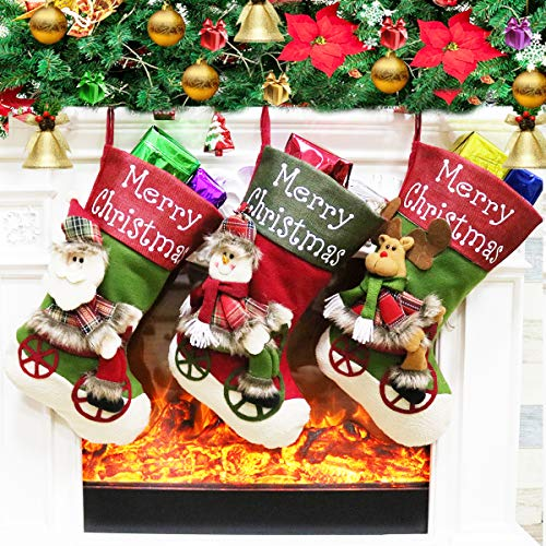 Dreampark Christmas Stockings, 3 Pack Big Xmas Stockings - Santa Snowman Stockings for Kids Gifts Home Decoration 18' (Red and Green)]()