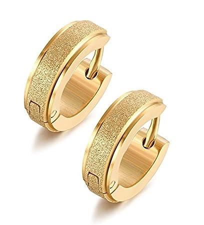 05388ab45 Amazon.com: Stainless Steel Womens Hoop Earrings for Men Huggie Ear  Piercings Hypoallergenic 20G (1pair Gold): Arts, Crafts & Sewing