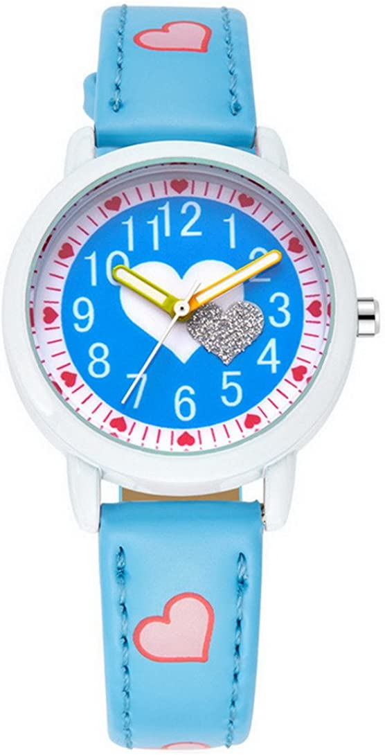 FEOYA - Niñas Reloj de Pulsera Cuarzo Analógico Formado Redondo Dibujo de Corazón para Niñas Chicas de Moda