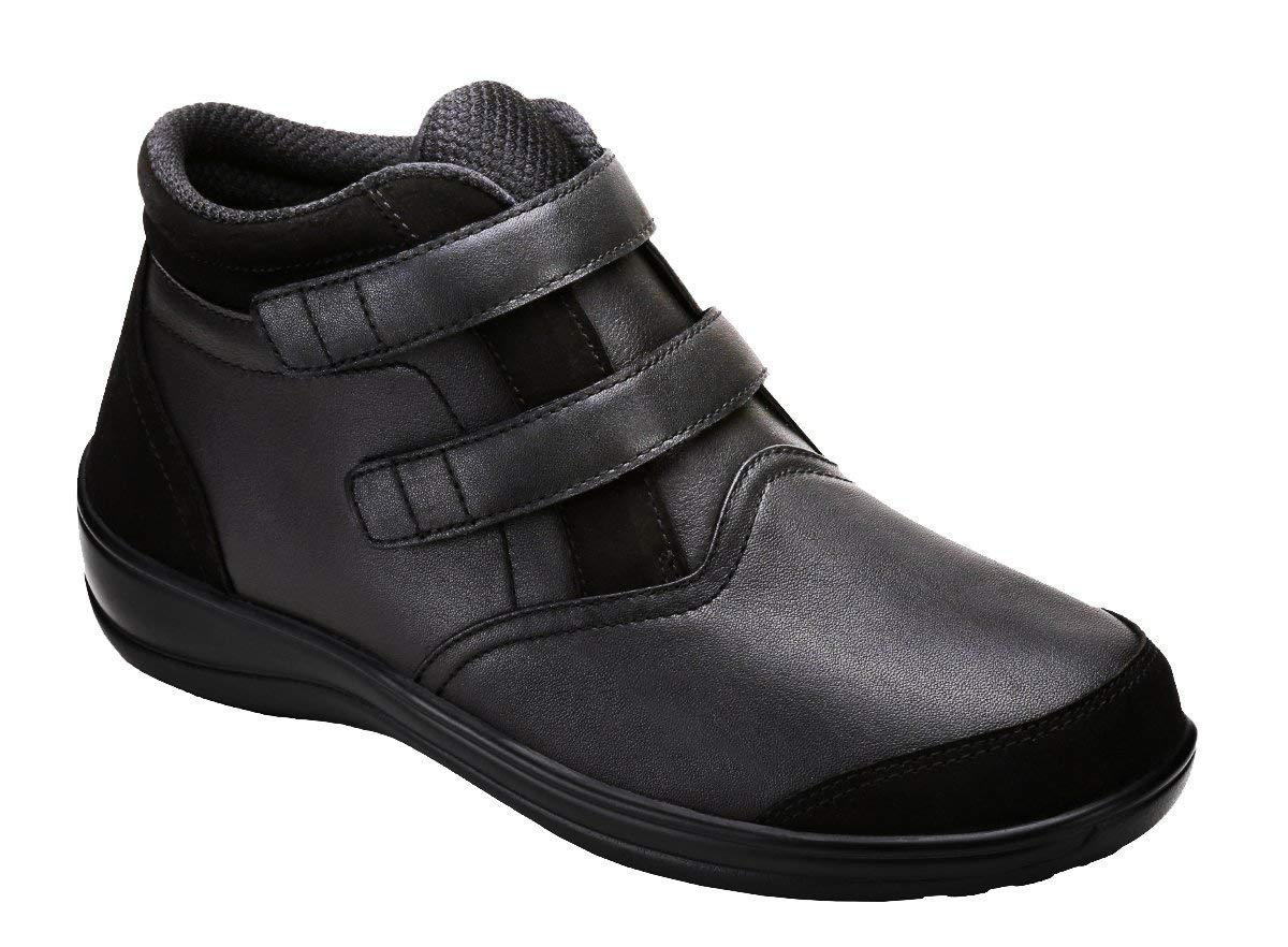 Orthofeet Proven Pain Relief Tivoli Comfortable Flat Feet Plantar Fasciitis Diabetic Orthopedic Women's Boots Black