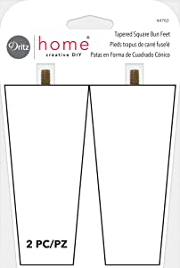 Dritz Home 44702 Tapered Square Wood Bun Feet, Unfinished 2 Count
