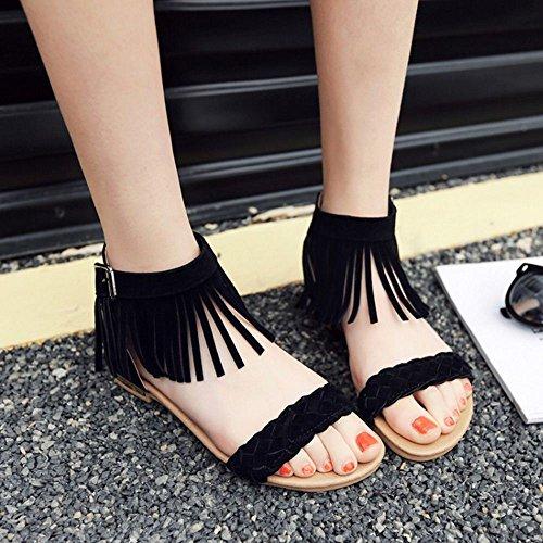 TAOFFEN Femmes Classique Bout Ouvert Sandalias Plates Sangle De Cheville Fermeture Eclair Zapatos De La Frange Negro