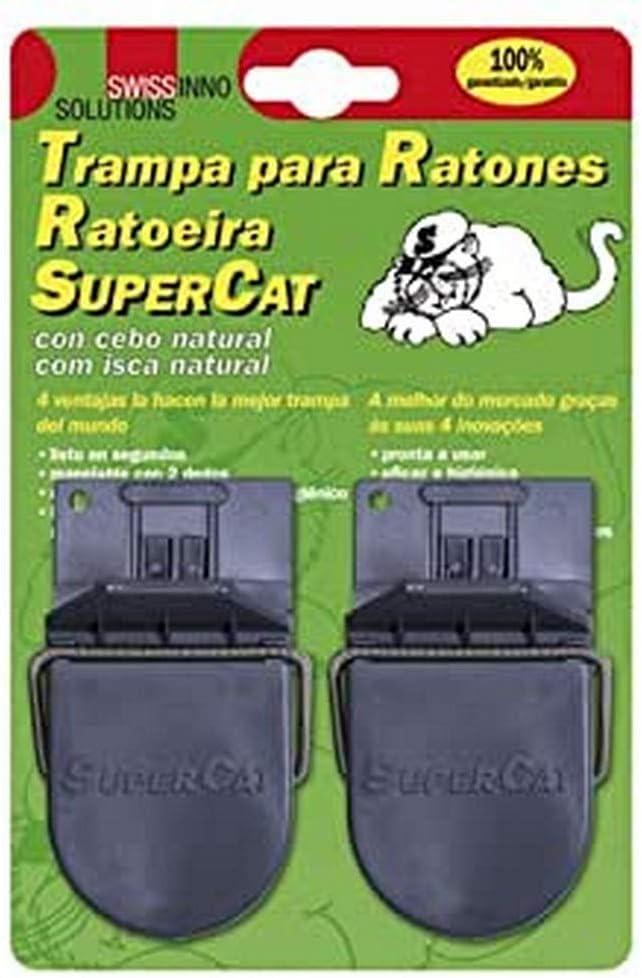 Supercat 14040400 Trampa Ratones Plastico (Blister 2 Piezas), Black