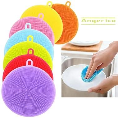 Food-Grade Silicone Dish Sponge -Angerico Antibacterial Magic Sponge - Mildew-Free Dishwashing Better Sponges - Dishwasher Safe Dish Brush -Smart Kitchen Scrubber Kitchen Accessories (7 Pack)