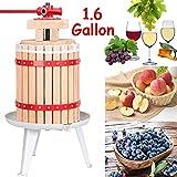 FCH 6L Oak Wine Press Wood Oak Basket Fruit Cider Press with Mesh Bag (1.6 Gallon)