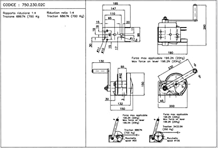 Cabrestante manual con freno, autofrenado, homologado CE ...