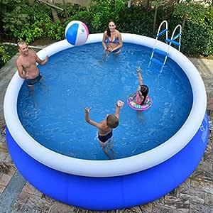 XM&LZ Extra Grande Piscina Hinchable para Los Niños Adultos, Redondo PVC Piscina, Uso Doméstico Blow Up Pool, Jardín Al Aire Libre Piscina Infantil Azul 240x63cm: Amazon.es: Jardín