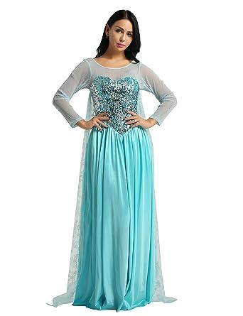 inlzdz Adulte Femme Fille Robe de Princesse Reine Queen Robe Longue de  Princesse Queen Déguisement Costume 52bfecff7e0a
