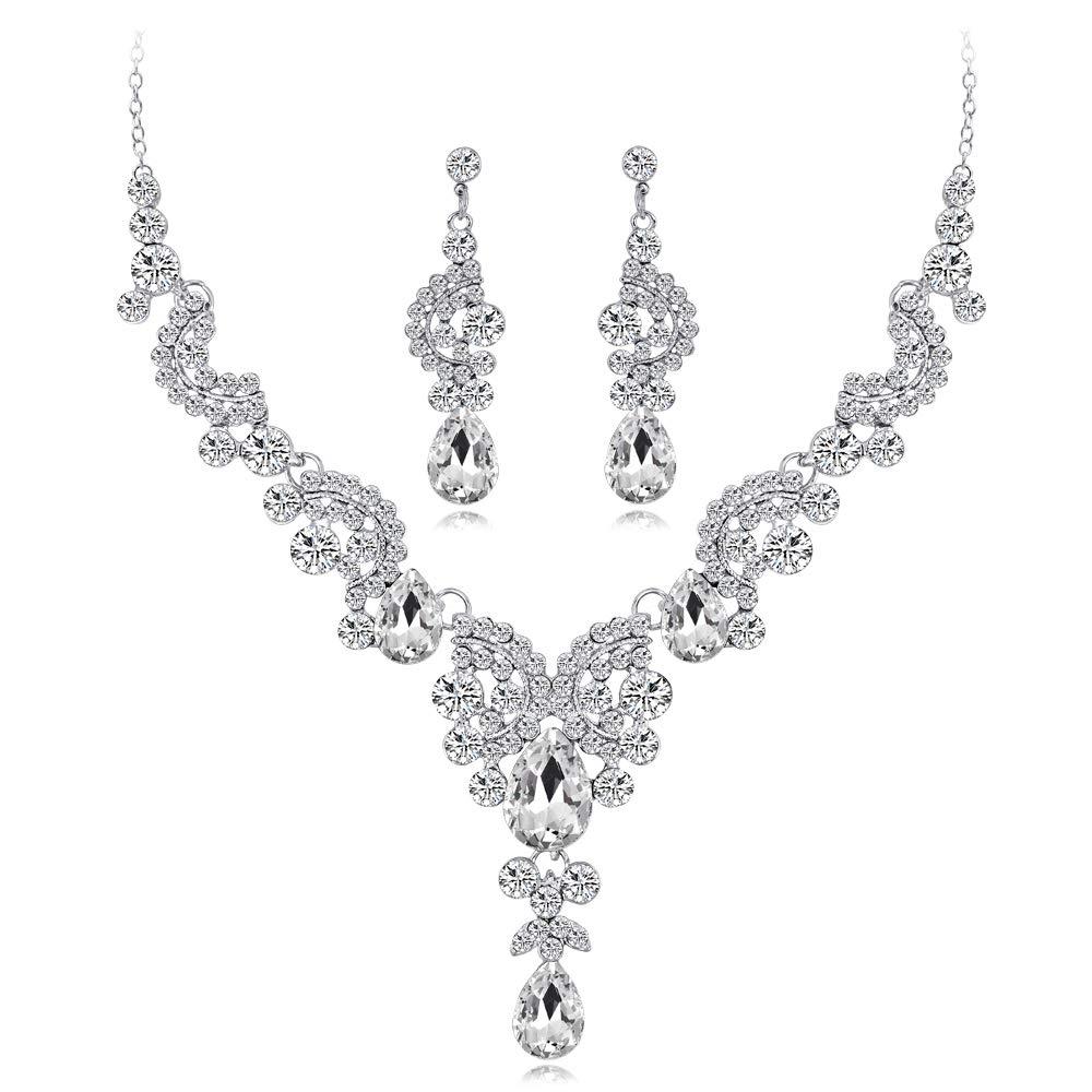 YAZILIND Wedding Bridal CZ Jewellery Set Water-Drop Tear-Drop Rhinestone Pendant Necklace Bride Drop Dangle Earrings