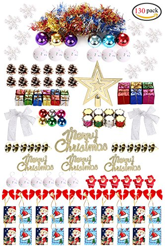 130ct Christmas Tree Ornaments Assortment including Tree Topper Balls Snowflakes Pine Cone Star Miniature Gift Boxes Tinsel Garlands Letter Cards Snow Globe Bowknot Colorful Drum Santa Claus Doll (Christmas Tree Diy Tinsel)