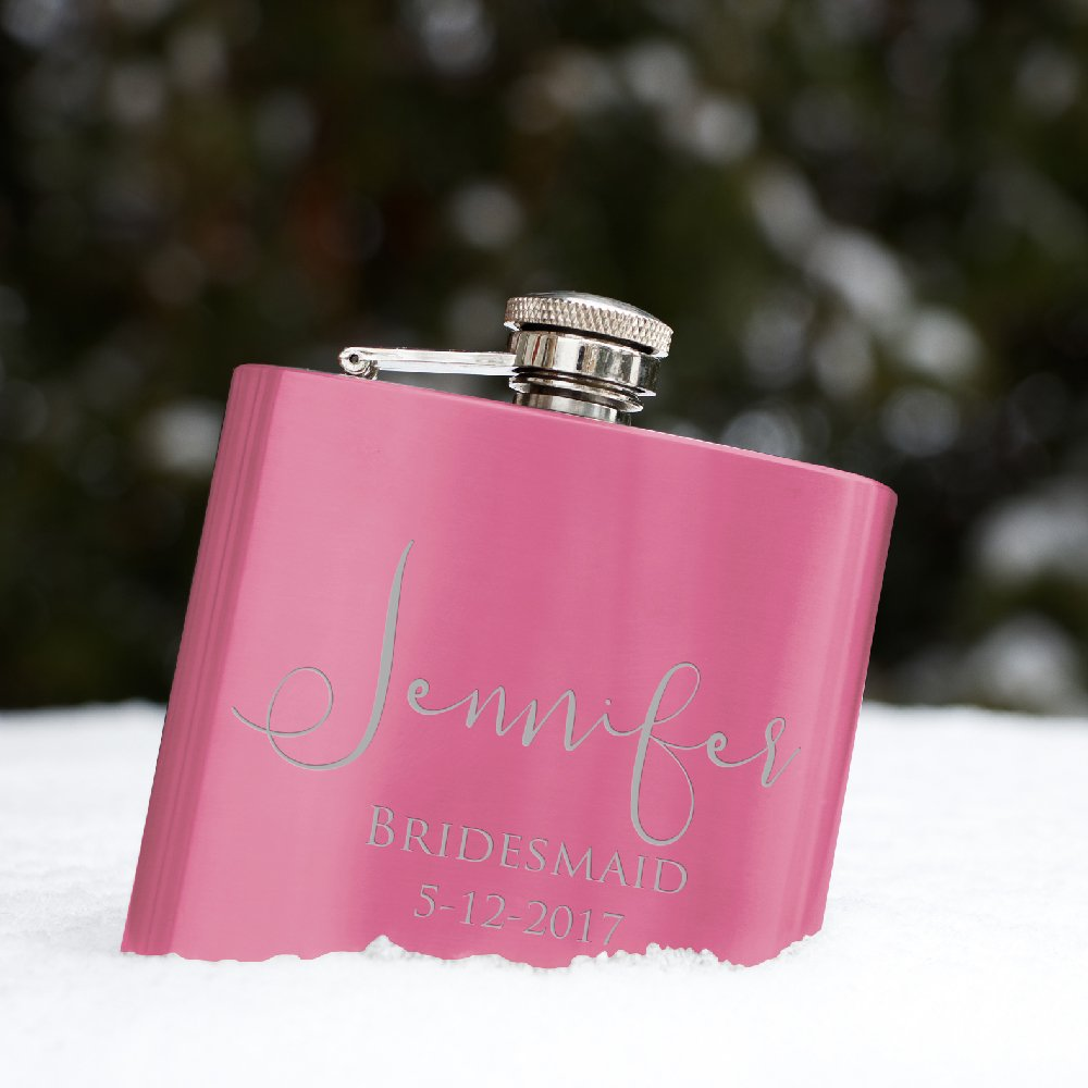 Set of 6 - Personalized Flask, Bridesmaid Gifts, Groomsmen Gift, Customized Groomsman Flasks, Wedding Favors, Matte Pink by United Craft Supplies (Image #2)