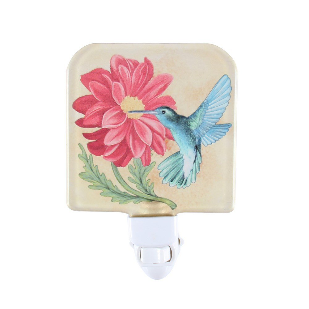 Liffyガラス赤ちゃん寝室プラグin NightライトChildsキッズ壁Nursery LEDポータブル夜ランプ B07CCFZ867 15248 Dahlia & Hummingbird Dahlia & Hummingbird