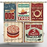 Unique Shower Curtain by iPrint,1950S Decor,Nostalgic Tin Signs And Retro Mexican Food Prints Aged Advirtising Logo Style Artistic Design,Multi,Fabric Bathroom Decor Set with Hooks, 72 Inches