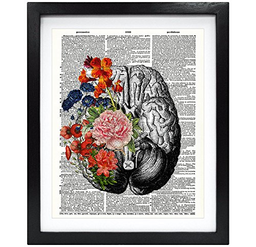 Susie Arts 8X10 Unframed Human brain with flowers Springtime Mind Vintage Upcycled Dictionary Art Print Book Art Print Home Decor Funny Art Print -