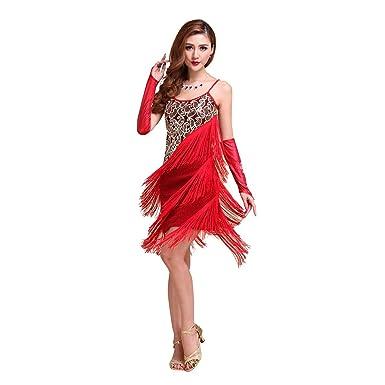 ff385bd34 coastacloud Vintage Girl Sexy Dance Dress Rumba Ballroom Salsa Samba Tango  Rhythm Latin Dance Dress with Tassels Bib - Red - Medium: Amazon.co.uk:  Clothing