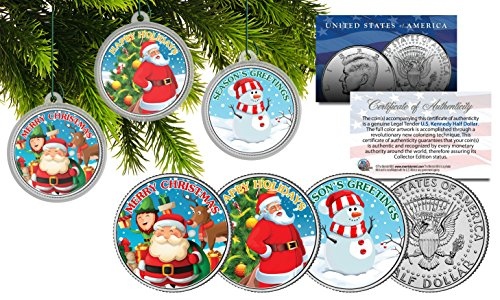 MERRY CHRISTMAS JFK Half Dollar 3-Coin Set Ornaments with Snowman & Santa