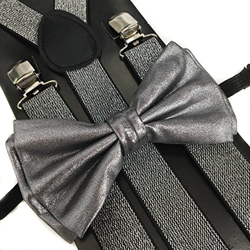 4everStore Unisex's Bow tie & Suspender Sets (Metallic -