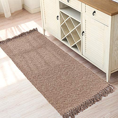 Amazon Com Woven Cotton Area Rug Set Of 2 Hiiarug Cotton Area Runner For Living Room Bedroom Bedside Carpet Machine Washable 2 X3 2 X4 4 Furniture Decor