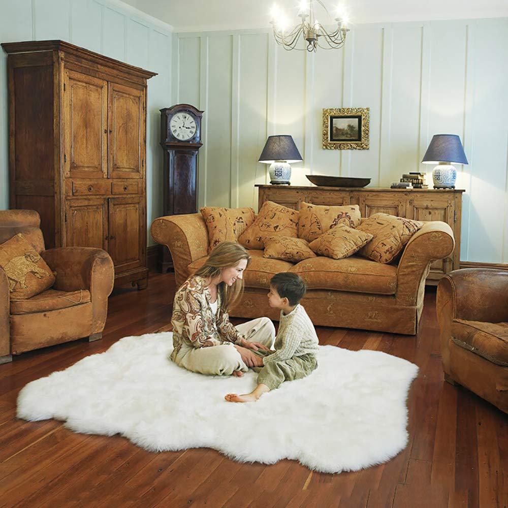 Teppiche Faux Lammfell Schaffell Longhair Fell Optik Nachahmung Wolle Bettvorleger Sofa Matte (Weiß, 180 x 200 cm)