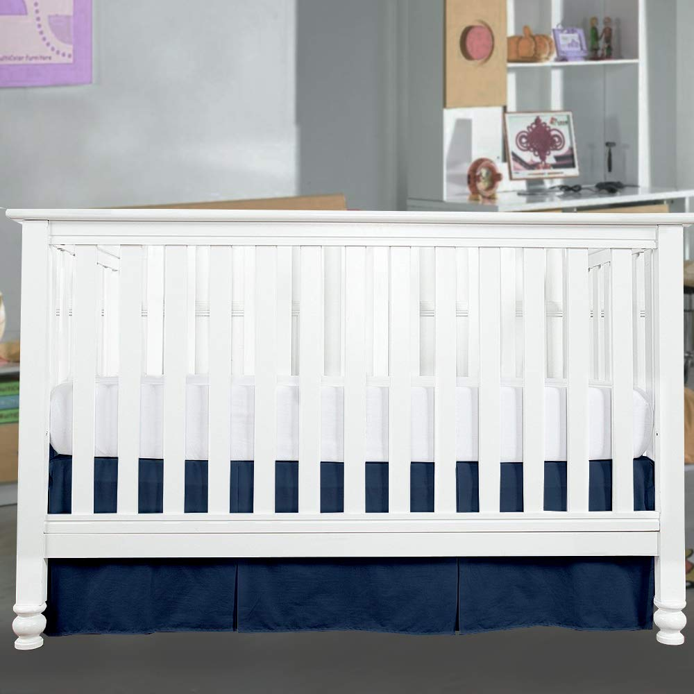 14 Drop-Navy Blue Nursery Crib Toddler Bedding Skirts for Baby Boys or Girls 100/% Natural Cotton Crib Bed Skirt Without Pleated Plain Skirt