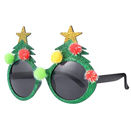 5937ca538685a Image Unavailable. Image not available for. Color  BESTOYARD Christmas  Sunglasses Novelty Christmas Tree Eyeglasses Plastic Costume Eyeglasses for  Party ...