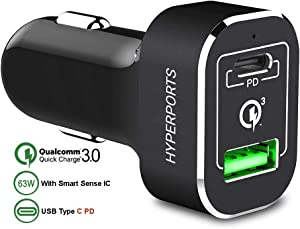 63W USB C Car Charger 45W Laptop Power Delivery Chipset Enabled: Dual Port QualComm Quick Charge 3.0 Compatible w/MacBook Pro, Chromebook, Pixel 2 XL, iPhone XR XS X, Galaxy S9 S8 Plus Note 9 8, iPad