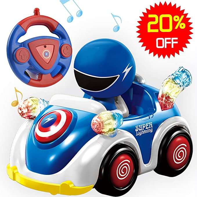 NQD RC Cartoon Race Car with Music and Lights Radio Control RC Toy Car for Babies Toddlers Kids Blue