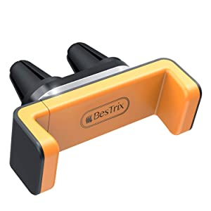 """Bestrix Air Vent Cell Phone Car Mount Adjustable Size Up to 6.5"""" Secure Double Clamp Grip, Compact & Durable Holder All Smartphones & iPhones (Orange)"""