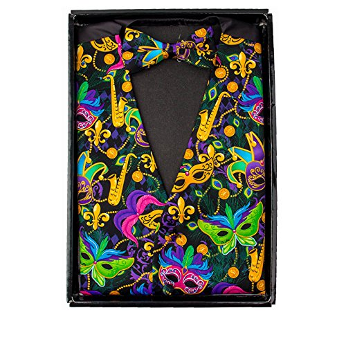 Mardi Gras Colorful, Vibrant Masquerade Mask Vest & Bow Tie -