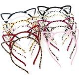 Unomor 12 Assorted Colors Cat Ears Headband Fluffy Hair Hoop, 12 Pieces