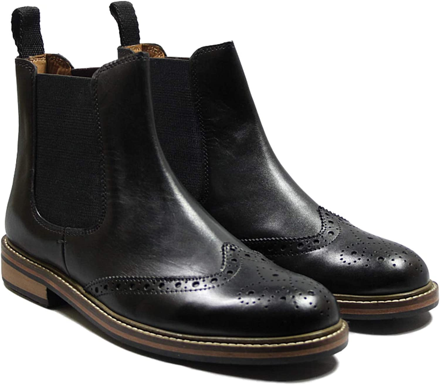 Lucini Mens Leather Brogue Chelsea