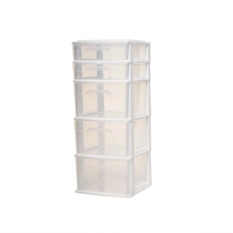 HOMZ Plastic 5 Drawer Medium Storage Tower, White Frame, Clear Drawers, Set of 2