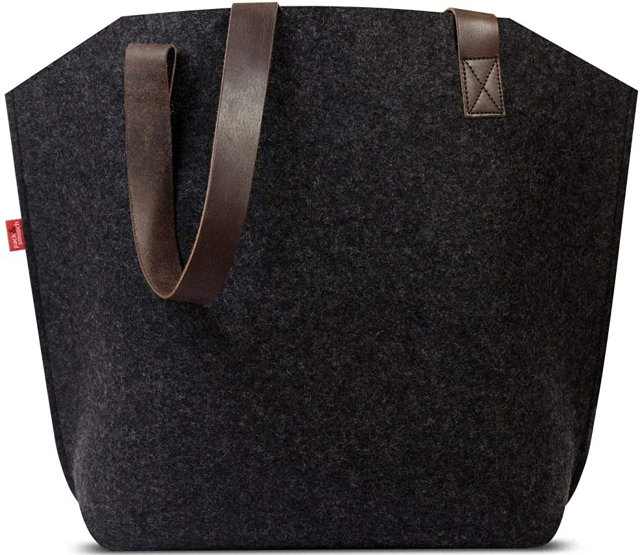 Pack Smooch York 100 Merino Wool Felt Tote Bag with Vegetable Tanned Italian Leather Strap