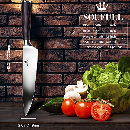 Professional Chef Knife, Soufull 8 inch Stainless Steel Kitchen Knife-Razor Sharp Durable Blade,Well Balanced Ergonomic Pakka Wood Handle,Multipurpose Top Chef's Knife with Gift Box by Soufull (Image #3)