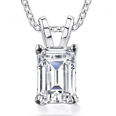 Amazon 070 ct emerald cut diamond pendant necklace in 14 kt 070 ct emerald cut diamond pendant necklace in 14 kt white gold aloadofball Choice Image