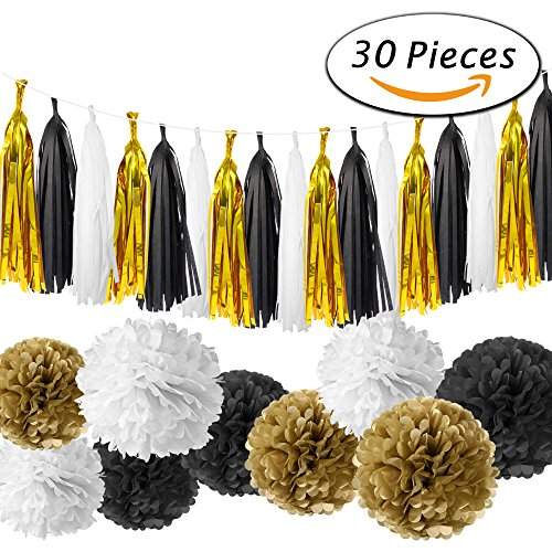 Paxcoo 30 Pcs Black and Gold Party Decorations with Tassel Garland and Paper Pom Poms for Happy New Year Party New Year's Eve Party 20st, 30th, 40th, 50th, 60th, 70th,75th, - Planning Party New Years