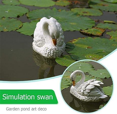 Simulación de estatuas y esculturas Swan – Pequeña simulación Floating Swan Escultura Decoración para Jardín, paisaje acuático, jardín de piedra, acuario, paisajismo Decoración: Amazon.es: Hogar