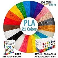3D Pen Filament Refills - Premium Set of 21 Colors Bonus 200 Stencils EBook including 6 Glow in the Dark - Best 1.75mm PLA Filament Pack for 3D Pen from i3DPen Store