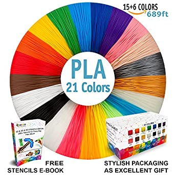Amazon 3d pen filament refills premium set of 21 colors bonus 3d pen filament refills premium set of 21 colors bonus 200 stencils ebook including 6 fandeluxe Choice Image