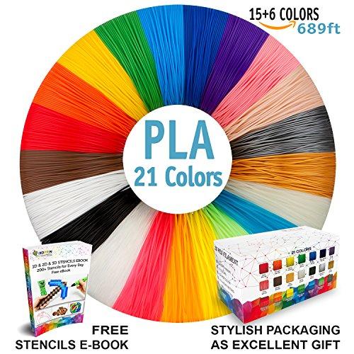 3D Pen Filament Refills - Premium Set of 21 Colors Bonus 200 Stencils EBook including 6 Glow in the Dark - Best 1.75mm PLA Filament Pack for 3D Pen