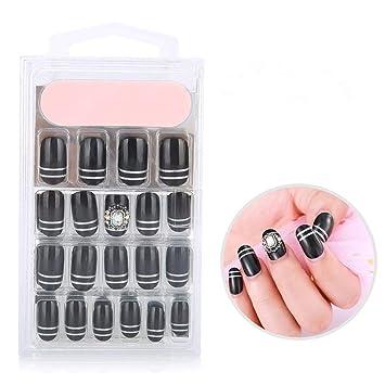 24 Piezas/Caja Fake Nails Consejos de uñas de ataúd Cubierta Larga y Completa Uñas Falsas de acrílico Uñas Artificiales Naturales Uñas Falsas pre-pegadas ...