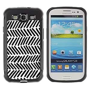 "Pulsar iFace Series Tpu silicona Carcasa Funda Case para Samsung Galaxy S3 III I9300 , Rayas Blanco Negro Líneas Mano"""