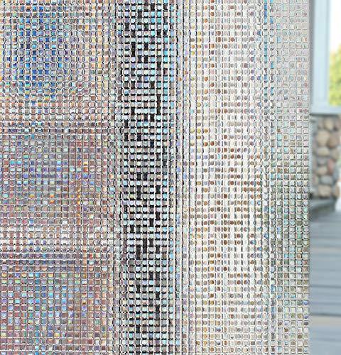 Jitejoe Window Film 3D Privacy Film Static Decorative Film Non-Adhesive Heat Control Anti UV, Vinyl Window Film No-Glue Window Cling Glass Film ((Square) 35.4 x 78.7 Inch)