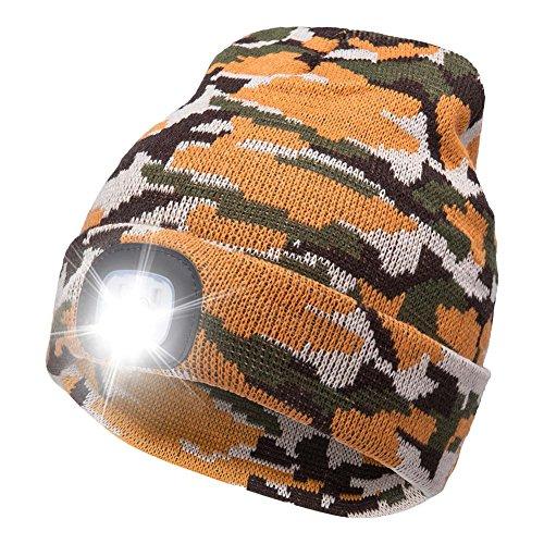 Ultra Bright LED Unisex Lighted Beanie Cap/Winter Warm hat (USB charging) (Orange...