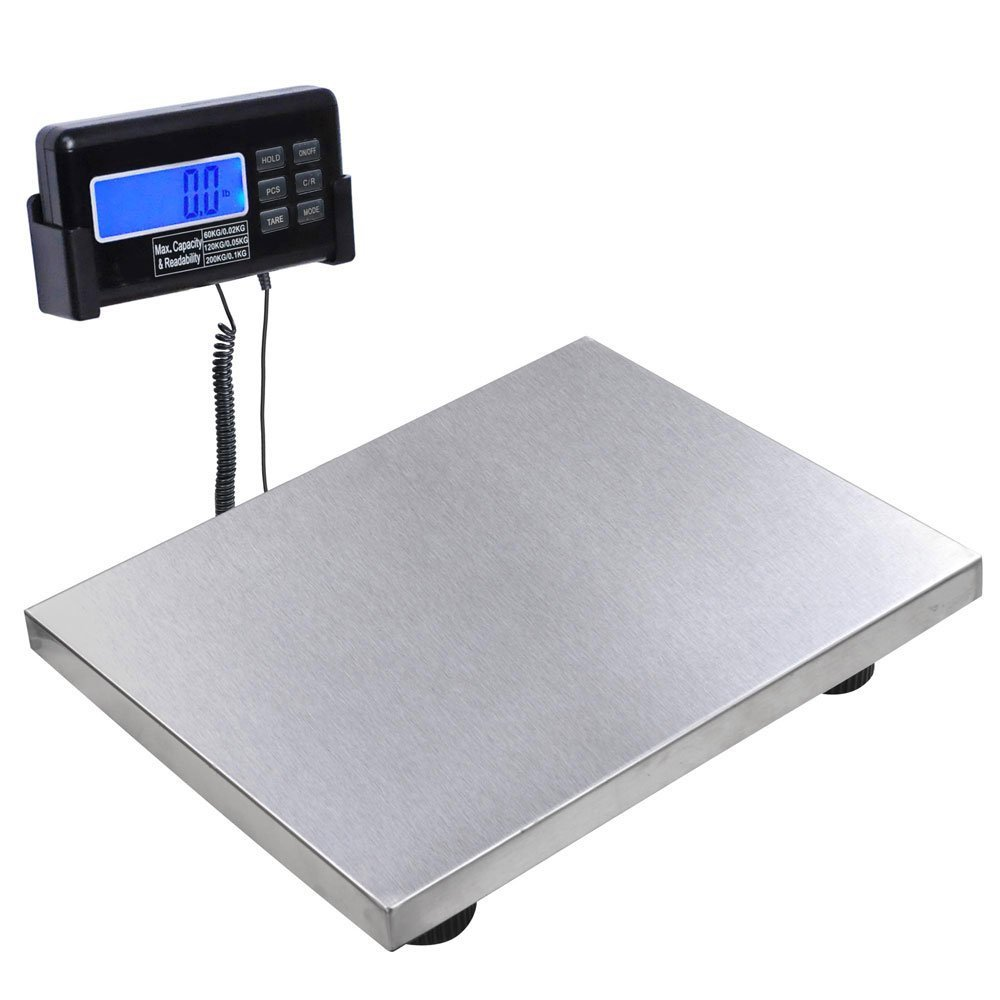 "200 Kg 440 Lb 7055 Oz Max. Weight Digital Postal Stainless Steel 15"" x 11 3/4"" Platform Scale w/ Large LCD Display 110v AC/DC adapter for Pet Floor Office Shipping"