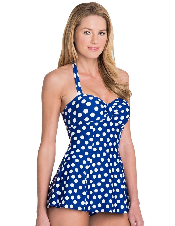 seaspray polka dots neckholder kontroll badeanzug mit rock in marineblau 15 2165 online kaufen. Black Bedroom Furniture Sets. Home Design Ideas